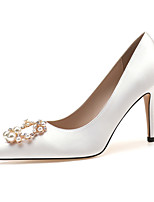 cheap -Women's Heels Spring / Fall Pumps Pointed Toe Wedding Party & Evening Imitation Pearl Satin Almond / White / Pink