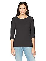 cheap -women's stretch cotton raglan sleeve tee top black