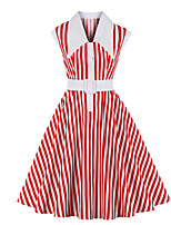 cheap -Audrey Hepburn Vintage Dress Women's Spandex Costume Red Vintage Cosplay A-Line