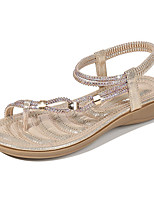 cheap -Women's Sandals Summer Flat Heel Round Toe Daily PU Black / Champagne / Gold