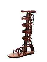 cheap -Women's Sandals Roman Shoes / Gladiator Sandals Summer Flat Heel Open Toe Daily PU Black / Brown