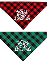 cheap -Dog Cat Bandanas & Hats Dog Bandana Dog Bibs Scarf Plaid / Check Letter & Number Party Cute Christmas Party Dog Clothes Adjustable Costume Fabric L