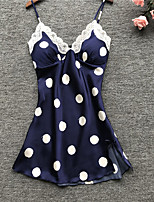 cheap -Women's Lace Bow Robes Satin & Silk Suits Nightwear Polka Dot White / Green / Dusty Blue S M L