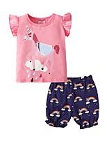cheap -Kids Girls' Basic Print Short Sleeve Clothing Set Blushing Pink