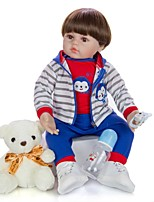 cheap -KEIUMI 24 inch Reborn Doll Baby & Toddler Toy Reborn Toddler Doll Baby Boy Gift Cute Lovely Parent-Child Interaction Tipped and Sealed Nails Half Silicone and Cloth Body with Clothes and Accessories