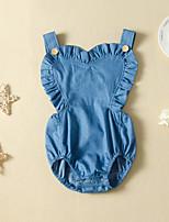 cheap -Baby Girls' Basic Blue Solid Colored Sleeveless Bodysuit Blue