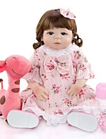 cheap -KEIUMI 22 inch Reborn Doll Baby & Toddler Toy Reborn Toddler Doll Baby Girl Gift Cute Washable Lovely Parent-Child Interaction Full Body Silicone 23D09-C33-S03-S24-T01 with Clothes and Accessories