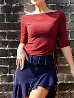 cheap -Latin Dance Skirts Ruffles Paillette Women's Training Daily Wear Half Sleeve Natural Ice Silk