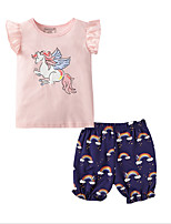 cheap -Kids Boys' Basic Print Short Sleeve Clothing Set Blushing Pink