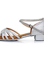 cheap -Girls' Dance Shoes Latin Shoes Salsa Shoes Heel Buckle Thick Heel Customizable Silver / Black / Black / Gold / Bronze