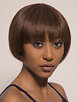 cheap -Remy Human Hair Wig Short Silky Straight Pixie Cut Brown Easy to Carry Women Best Quality Capless Brazilian Hair Burmese Hair Women's Medium Brown#4 12 inch