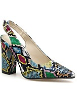 cheap -Women's Heels Flare Heel Pointed Toe Daily Snake Faux Leather Booties / Ankle Boots Rainbow