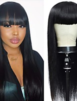 cheap -Remy Human Hair Wig Long Straight Neat Bang Natural Black Party Women Easy dressing Machine Made Capless Brazilian Hair Malaysian Hair Women's Girls' Natural Black 18 inch