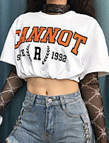 cheap -Women's T shirt Tee / T-shirt White Oversized Crop Top Crew Neck Cute Letter Slogan Sport Athleisure T Shirt Half Sleeve Breathable Soft Everyday Use Daily Casual