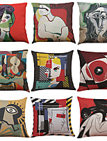 cheap -1 Set of 9 pcs Linen Throw Pillow Covers Art Print Decorative Throw Pillow Case Cushion Case for Room Bedroom Room Sofa Chair Car, 18 x 18 Inch