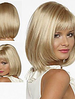 cheap -Synthetic Wig Straight Bob With Bangs Wig Short Brown Blonde Medium Blonde Synthetic Hair 12 inch Women's Soft Women Synthetic Blonde Brown hairjoy