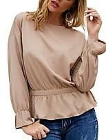 cheap -Women's Blouse Shirt Solid Colored Long Sleeve Round Neck Tops Basic Top Black Khaki Light Green