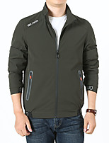 cheap -Men's Hiking Windbreaker Outdoor Windproof Jacket Spandex Traveling Black / Army Green / Grey
