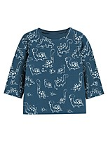 cheap -Kids Boys' Basic Dinosaur Animal Print Long Sleeve Tee Blue