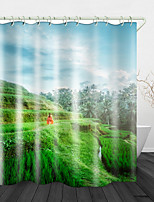 cheap -Terraced Rice Field Digital Print Waterproof Fabric Shower Curtain For Bathroom Home Decor Covered Bathtub Curtains Liner Includes With Hooks