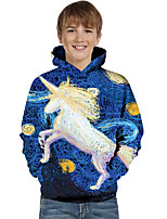 cheap -Kids Toddler Boys' Active Basic Unicorn Geometric Color Block Print Long Sleeve Hoodie & Sweatshirt Blue