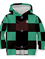 cheap -Kids Toddler Boys' Active Street chic Geometric Color Block 3D Print Long Sleeve Hoodie & Sweatshirt Green