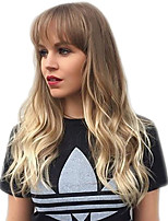 cheap -Synthetic Wig Body Wave With Bangs Wig Long Blonde Ombre Brown Synthetic Hair 24 inch Women's Fashionable Design Party New Arrival Blonde Brown