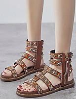 cheap -Women's Sandals Roman Shoes / Gladiator Sandals Summer Flat Heel Open Toe Daily PU Dark Brown / Black