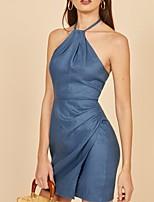 cheap -Women's Sheath Dress Short Mini Dress - Sleeveless Solid Color Ruched Summer Sexy 2020 Blue S M L