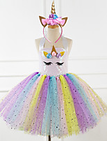 cheap -Unicorn Dress Girls' Movie Cosplay New Year's Pink / Rainbow Dress Headwear Christmas Halloween Carnival Polyester / Cotton Polyester