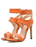cheap -Women's Sandals Summer Stiletto Heel Open Toe Daily Solid Colored PU Yellow / Orange