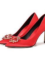 cheap -Women's Heels Summer Stiletto Heel Pointed Toe Wedding Daily Solid Colored Satin Red / Champagne