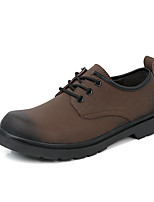 cheap -Men's Fall Classic Daily Oxfords Cowhide Breathable Non-slipping Black / Brown