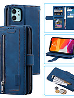 cheap -Case For Apple iPhone 11 XR Card Holder Shockproof Flip Full Body Cases Solid Colored PU Leather TPU zipper