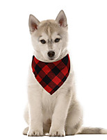 cheap -Dog Cat Bandanas & Hats Dog Bandana Dog Bibs Scarf Plaid / Check Casual / Sporty Cute Christmas Sports Dog Clothes Adjustable Black Red Blue Costume Cotton