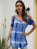 cheap -Women's T-shirt Floral Round Neck Tops Blue