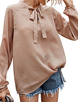 cheap -Women's Blouse Solid Colored Tops V Neck Daily Spring Summer Wine Dusty Blue Beige S M L XL