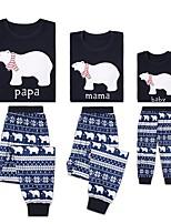 cheap -2 Piece Family Look Active Basic Panda Geometric Animal Letter Print Long Sleeve Regular Clothing Set Navy Blue
