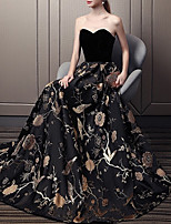 cheap -A-Line Elegant Floral Engagement Formal Evening Dress Strapless Sleeveless Floor Length Velvet with Pattern / Print 2020
