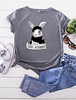 cheap -Women's T-shirt Cartoon Letter Print Round Neck Tops 100% Cotton Basic Summer Wine Yellow Blushing Pink