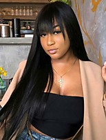 cheap -Synthetic Wig Straight Neat Bang Wig Long Black Synthetic Hair 28 inch Women's Party New Arrival Fashion Black