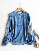 cheap -Women's Blouse Floral Embroidered Print Standing Collar Tops Puff Sleeve Loose Cotton Fall Blue Light Blue