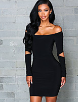 cheap -Women's Tee Dress Long Sleeve Cut Out Pure Color Sport Athleisure Dress Soft Everyday Use Casual Street