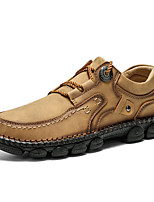 cheap -Men's Spring / Fall Casual / British Daily Outdoor Oxfords Hiking Shoes / Walking Shoes Faux Leather Non-slipping Wear Proof Black / Yellow / Khaki