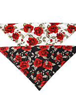 cheap -Dog Cat Bandanas & Hats Dog Bandana Dog Bibs Scarf Flower Party Cute Wedding Party Dog Clothes Adjustable White Black Costume Cotton
