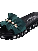 cheap -Women's Slippers & Flip-Flops Summer Flat Heel Open Toe Daily PU Black / Green