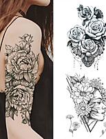 cheap -1 PC Fashion Women Girl Temporary Tattoo Sticker Black Roses Design Full Flower Arm Body Art Big Large Fake Tattoo Sticker