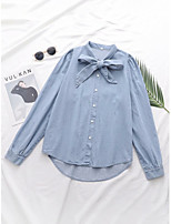 cheap -Women's Shirt Solid Colored Shirt Collar Tops Cotton Fall Blue / Work
