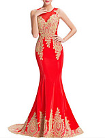 cheap -Mermaid / Trumpet Elegant Luxurious Engagement Formal Evening Dress Illusion Neck Sleeveless Sweep / Brush Train Lace with Appliques 2020