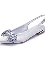 cheap -Women's Wedding Shoes Spring / Summer Flat Heel Pointed Toe Classic Sweet Wedding Party & Evening Crystal / Bowknot Solid Colored Satin White / Black / Purple